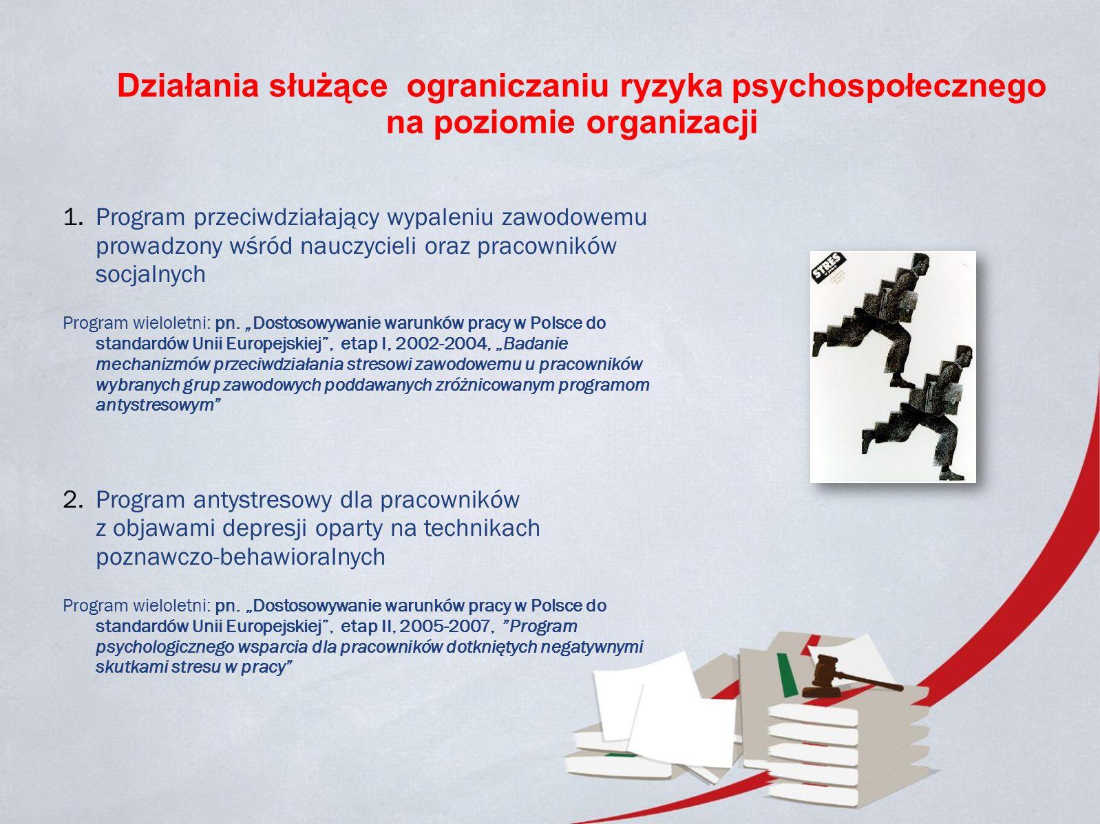 Działania służące ograniczaniu ryzyka psychospołecznego na poziomie organizacji 1.Program przeciwdziałający wypaleniu zawodowemu prowadzony wśród nauczycieli oraz pracowników socjalnych Program wieloletni: pn.