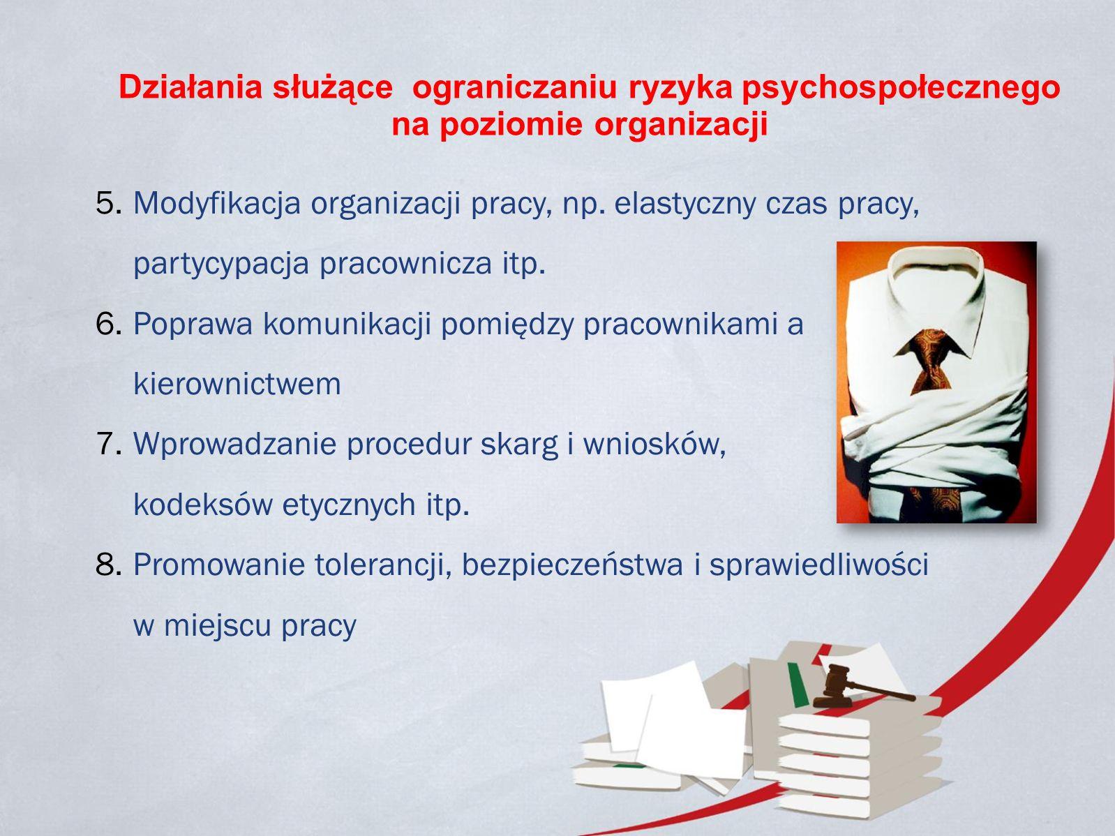 Działania służące ograniczaniu ryzyka psychospołecznego na poziomie organizacji 5.Modyfikacja organizacji pracy, np.