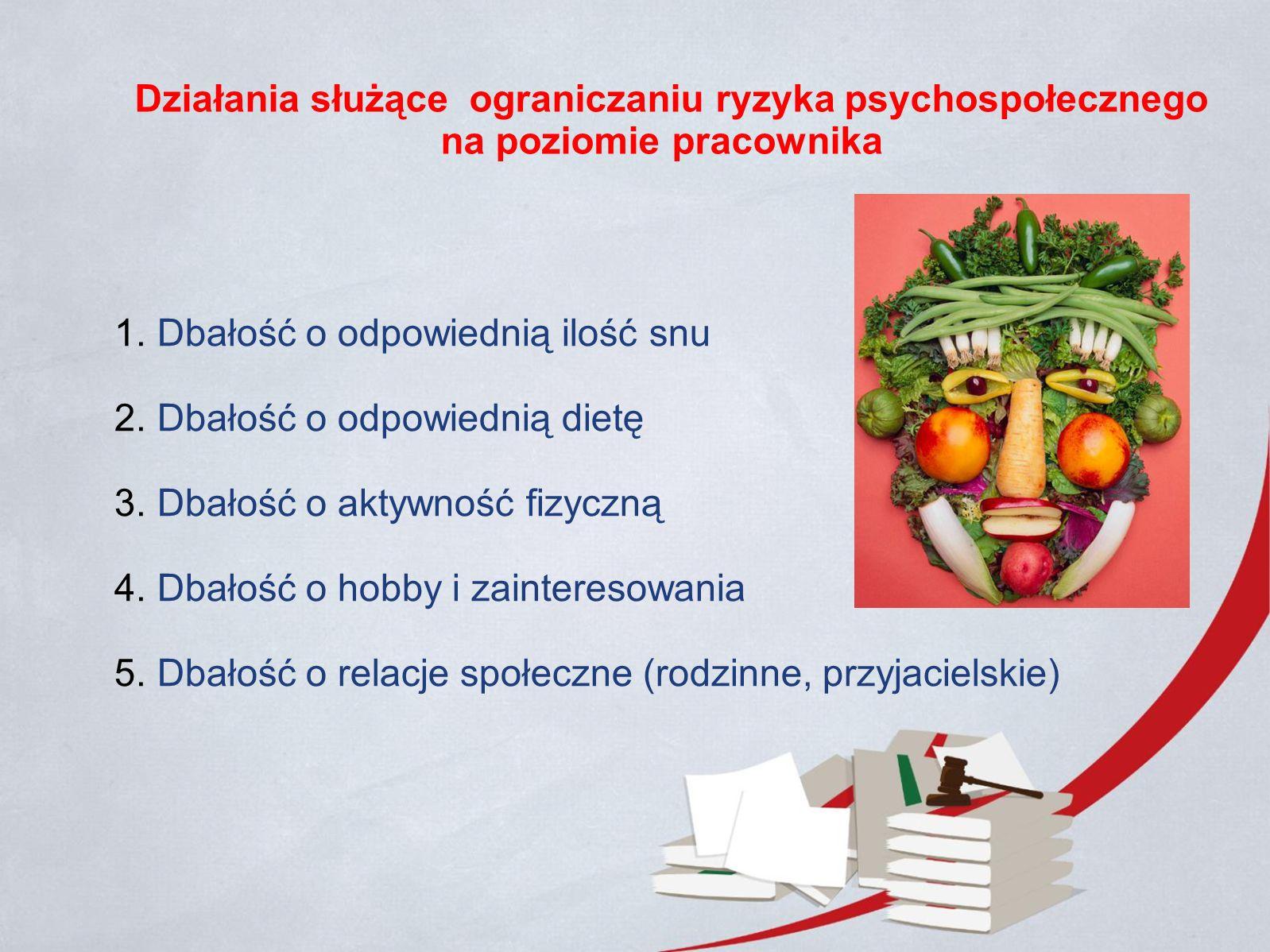 Działania służące ograniczaniu ryzyka psychospołecznego na poziomie pracownika 1.Dbałość o odpowiednią ilość snu 2.Dbałość o odpowiednią dietę 3.Dbałość o aktywność fizyczną 4.Dbałość o hobby i zainteresowania 5.Dbałość o relacje społeczne (rodzinne, przyjacielskie)