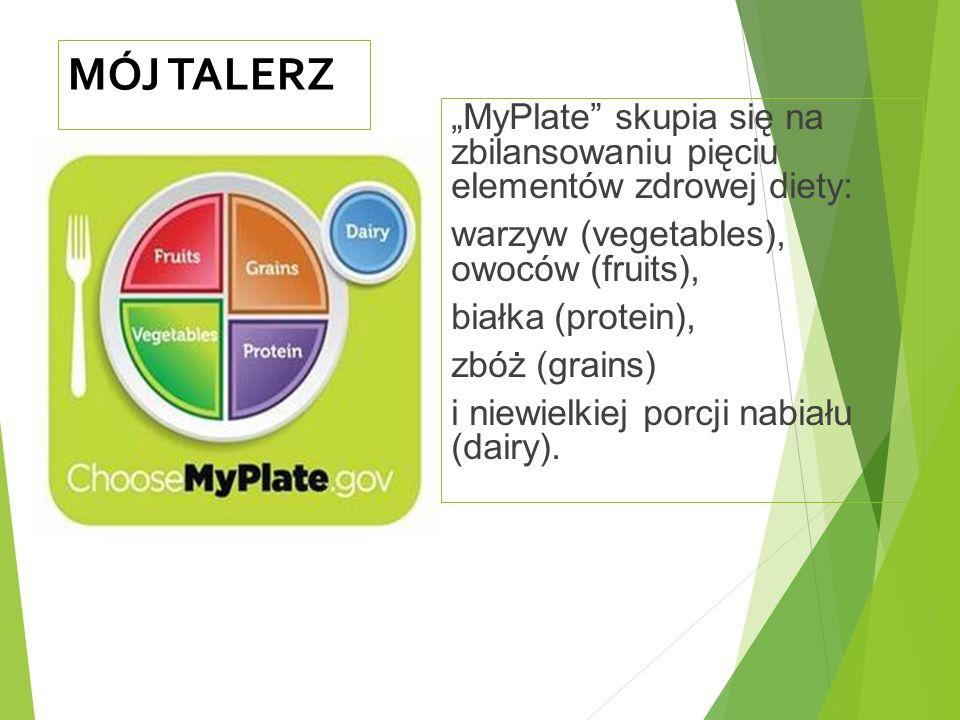 """MÓJ TALERZ """"MyPlate skupia się na zbilansowaniu pięciu elementów zdrowej diety: warzyw (vegetables), owoców (fruits), białka (protein), zbóż (grains) i niewielkiej porcji nabiału (dairy)."""