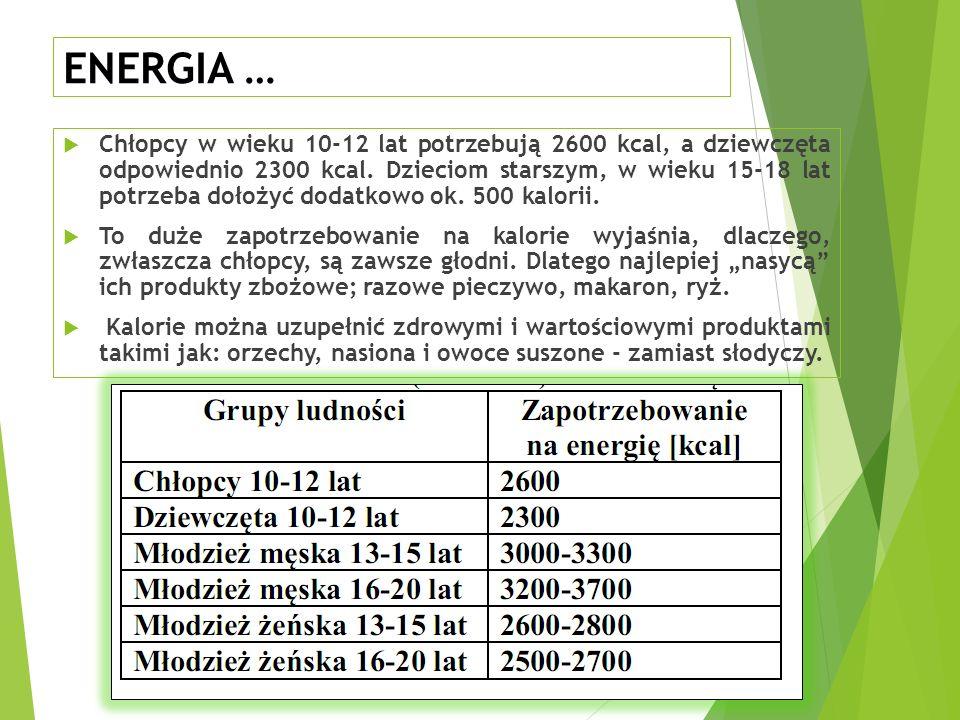 ENERGIA …  Chłopcy w wieku 10-12 lat potrzebują 2600 kcal, a dziewczęta odpowiednio 2300 kcal.