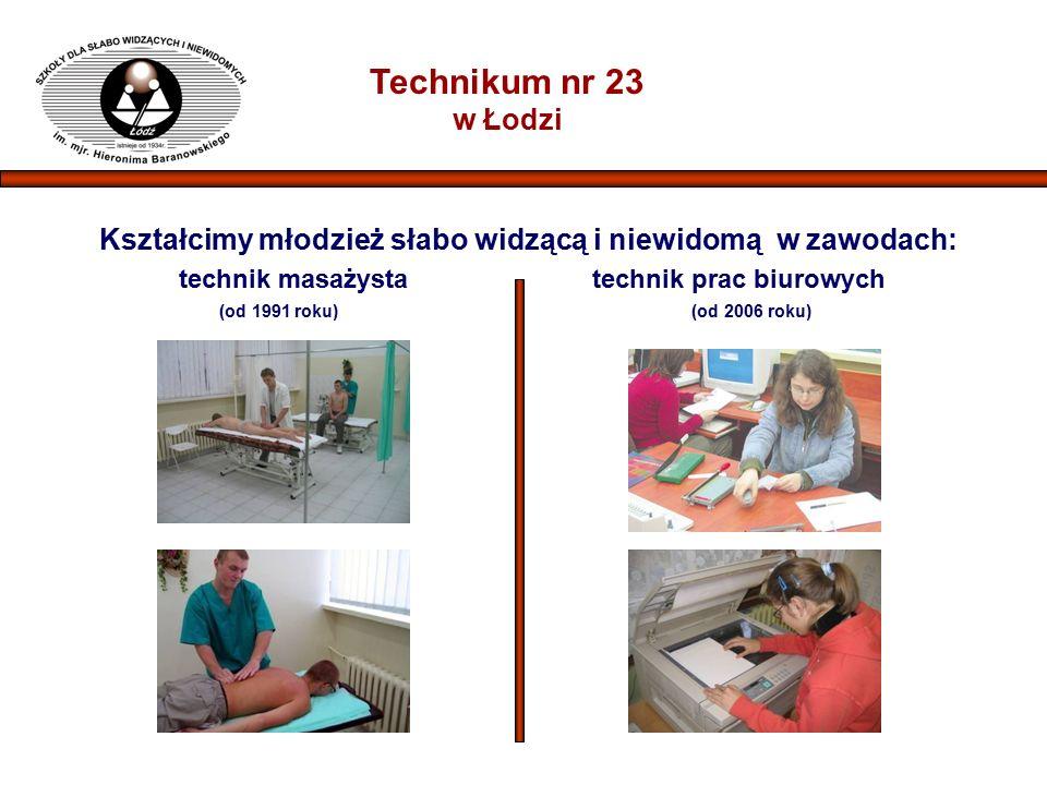 Technikum nr 23 w Łodzi Kształcimy młodzież słabo widzącą i niewidomą w zawodach: technik masażysta technik prac biurowych (od 1991 roku) (od 2006 roku)