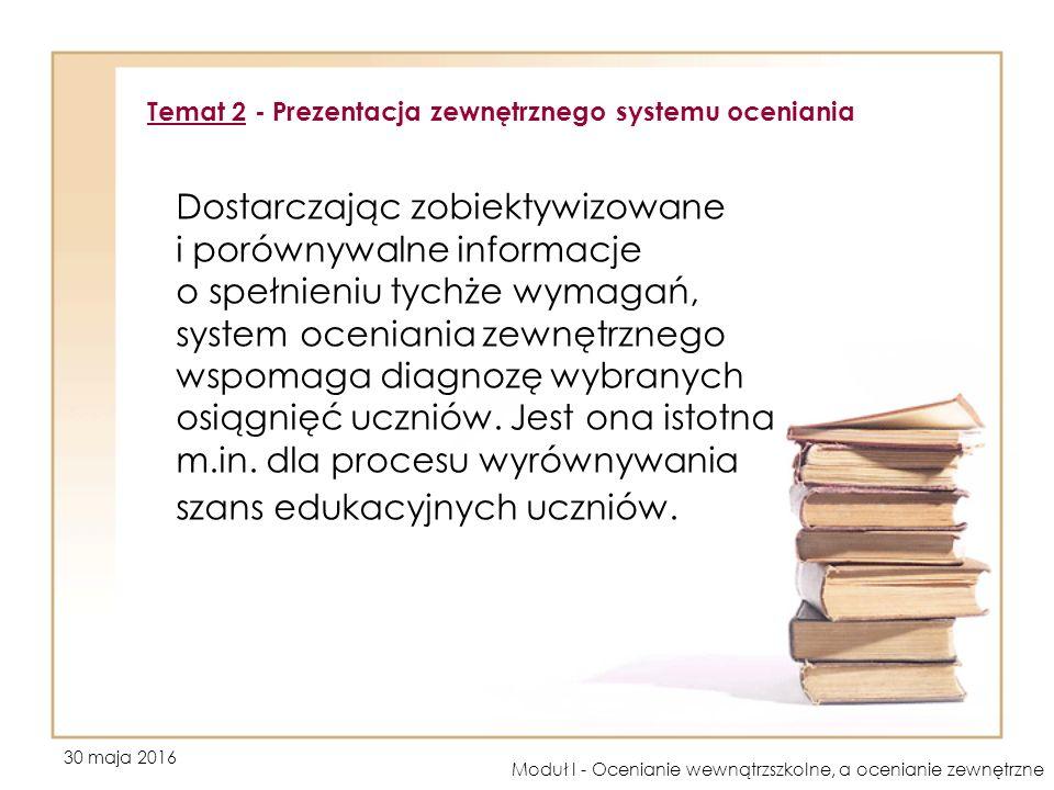 30 maja 2016 Moduł I - Ocenianie wewnątrzszkolne, a ocenianie zewnętrzne Dostarczając zobiektywizowane i porównywalne informacje o spełnieniu tychże wymagań, system oceniania zewnętrznego wspomaga diagnozę wybranych osiągnięć uczniów.