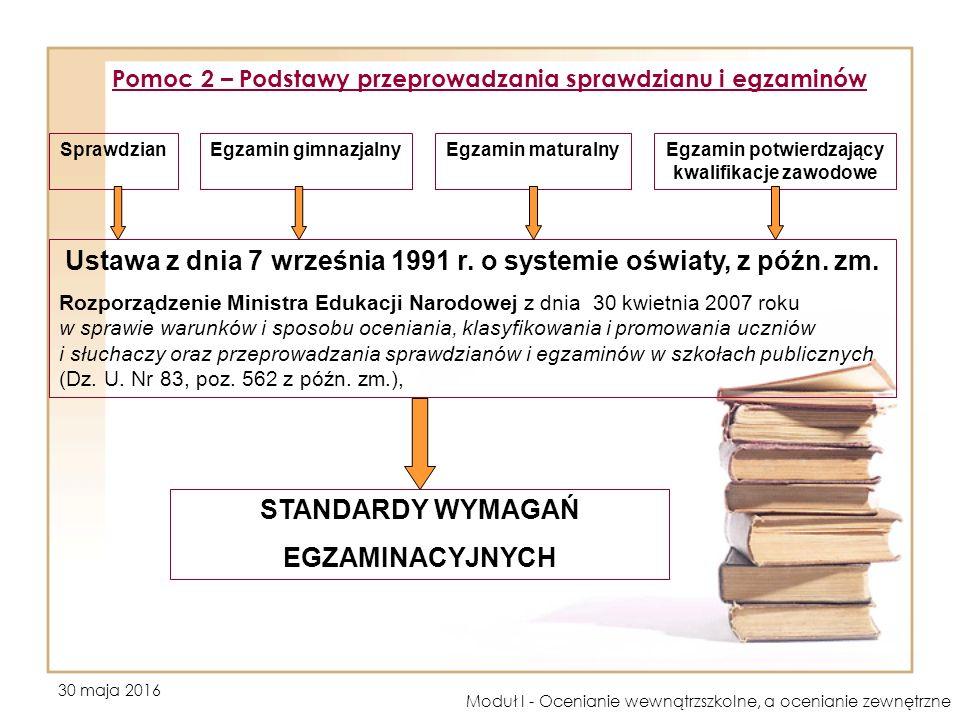 30 maja 2016 Moduł I - Ocenianie wewnątrzszkolne, a ocenianie zewnętrzne Pomoc 2 – Podstawy przeprowadzania sprawdzianu i egzaminów SprawdzianEgzamin