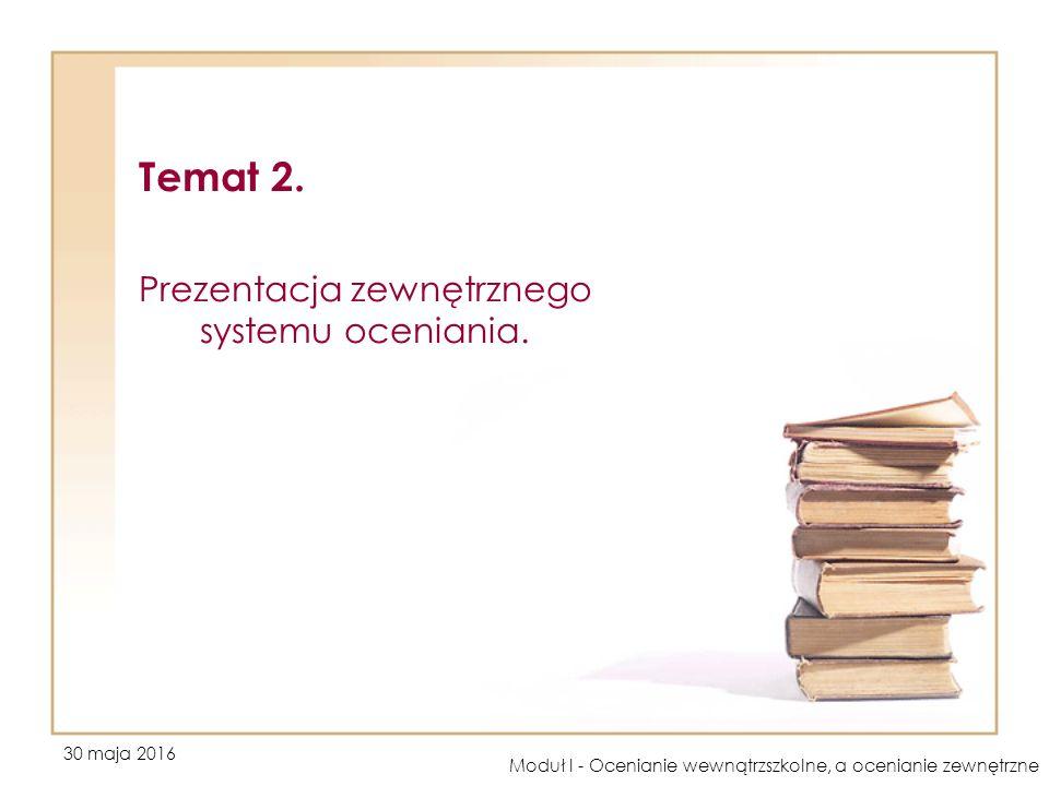 30 maja 2016 Moduł I - Ocenianie wewnątrzszkolne, a ocenianie zewnętrzne Temat 2. Prezentacja zewnętrznego systemu oceniania.