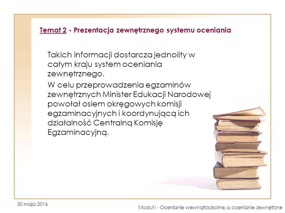 30 maja 2016 Moduł I - Ocenianie wewnątrzszkolne, a ocenianie zewnętrzne Takich informacji dostarcza jednolity w całym kraju system oceniania zewnętrznego.
