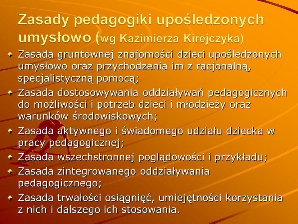 Zasada gruntownej znajomości dzieci upośledzonych umysłowo oraz przychodzenia im z racjonalną, specjalistyczną pomocą; Zasada dostosowywania oddziaływań pedagogicznych do możliwości i potrzeb dzieci i młodzieży oraz warunków środowiskowych; Zasada aktywnego i świadomego udziału dziecka w pracy pedagogicznej; Zasada wszechstronnej poglądowości i przykładu; Zasada zintegrowanego oddziaływania pedagogicznego; Zasada trwałości osiągnięć, umiejętności korzystania z nich i dalszego ich stosowania.