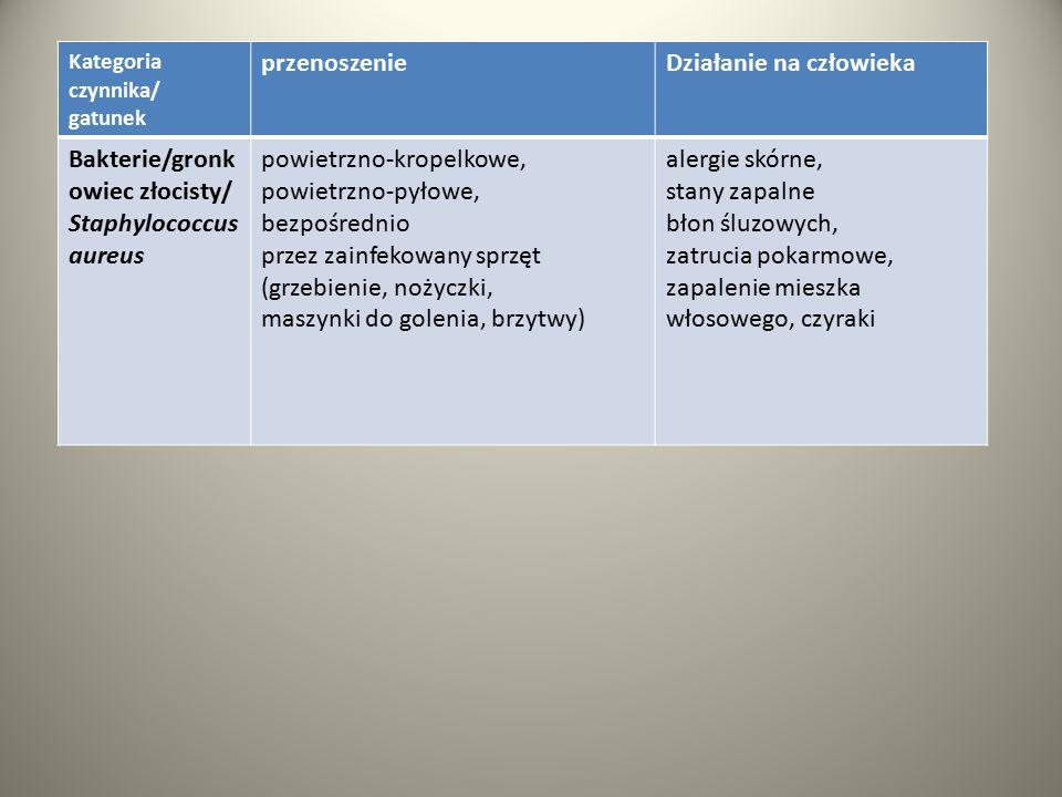 Kategoria czynnika/ gatunek przenoszenieDziałanie na człowieka Bakterie/gronk owiec złocisty/ Staphylococcus aureus powietrzno-kropelkowe, powietrzno-