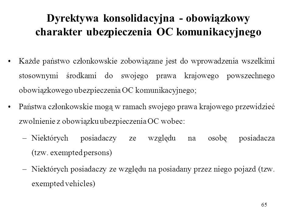 65 Dyrektywa konsolidacyjna - obowiązkowy charakter ubezpieczenia OC komunikacyjnego Każde państwo członkowskie zobowiązane jest do wprowadzenia wszel