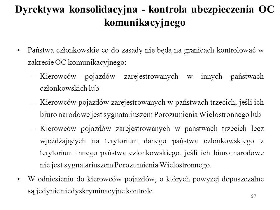67 Dyrektywa konsolidacyjna - kontrola ubezpieczenia OC komunikacyjnego Państwa członkowskie co do zasady nie będą na granicach kontrolować w zakresie