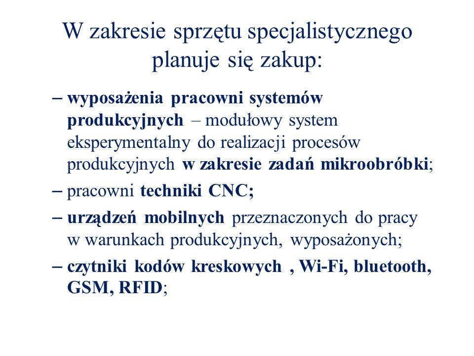 W zakresie sprzętu specjalistycznego planuje się zakup: – wyposażenia pracowni systemów produkcyjnych – modułowy system eksperymentalny do realizacji procesów produkcyjnych w zakresie zadań mikroobróbki; – pracowni techniki CNC; – urządzeń mobilnych przeznaczonych do pracy w warunkach produkcyjnych, wyposażonych; – czytniki kodów kreskowych, Wi-Fi, bluetooth, GSM, RFID;
