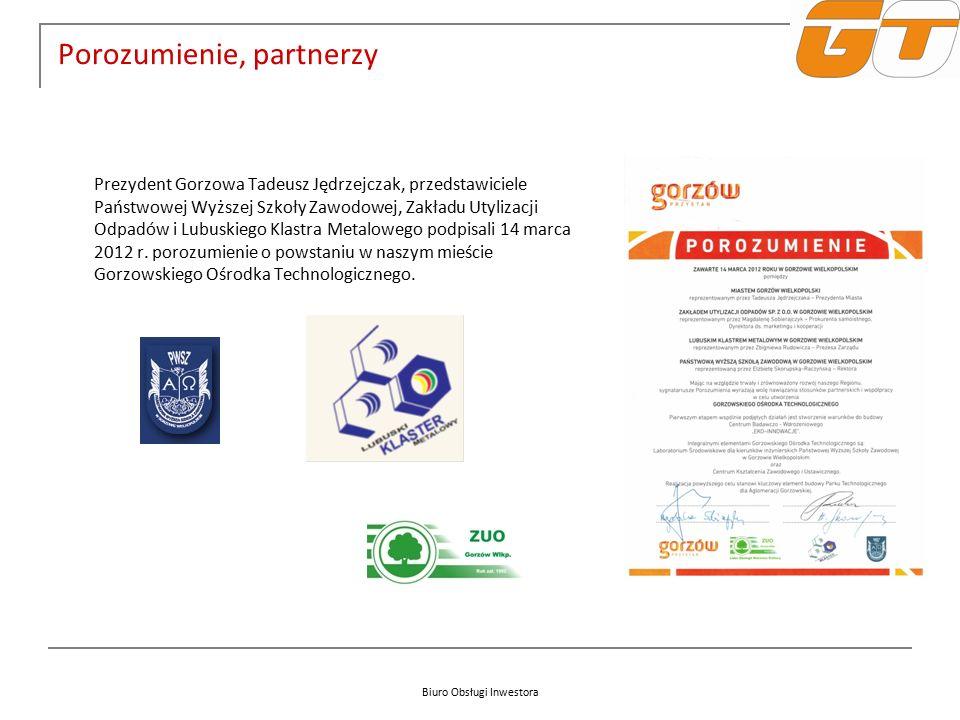 Biuro Obsługi Inwestora Porozumienie, partnerzy Prezydent Gorzowa Tadeusz Jędrzejczak, przedstawiciele Państwowej Wyższej Szkoły Zawodowej, Zakładu Utylizacji Odpadów i Lubuskiego Klastra Metalowego podpisali 14 marca 2012 r.