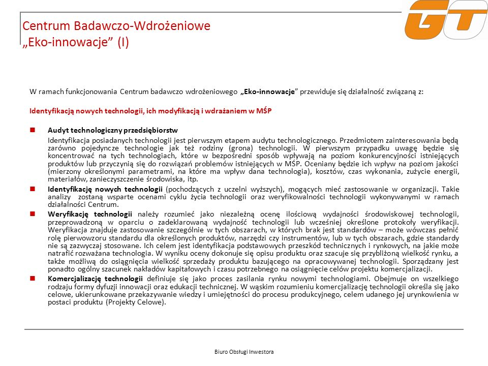 """Biuro Obsługi Inwestora Centrum Badawczo-Wdrożeniowe """"Eko-innowacje"""" (I) W ramach funkcjonowania Centrum badawczo wdrożeniowego """"Eko-innowacje"""" przewi"""