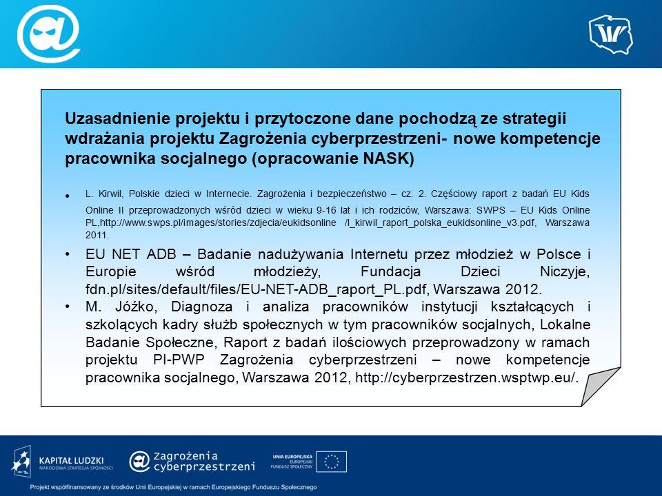 Uzasadnienie projektu i przytoczone dane pochodzą ze strategii wdrażania projektu Zagrożenia cyberprzestrzeni- nowe kompetencje pracownika socjalnego (opracowanie NASK) L.