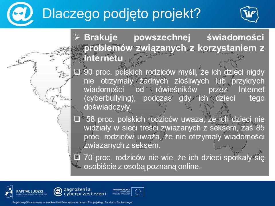  Brakuje powszechnej świadomości problemów związanych z korzystaniem z Internetu  90 proc. polskich rodziców myśli, że ich dzieci nigdy nie otrzymał