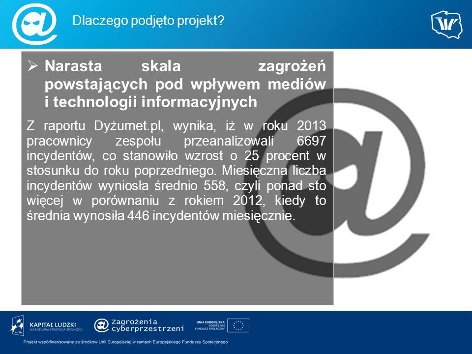  Narasta skala zagrożeń powstających pod wpływem mediów i technologii informacyjnych Z raportu Dyżurnet.pl, wynika, iż w roku 2013 pracownicy zespołu
