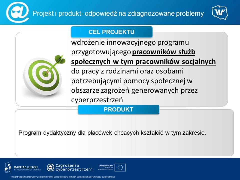 wdrożenie innowacyjnego programu przygotowującego pracowników służb społecznych w tym pracowników socjalnych do pracy z rodzinami oraz osobami potrzebującymi pomocy społecznej w obszarze zagrożeń generowanych przez cyberprzestrzeń CEL PROJEKTU Projekt i produkt- odpowiedź na zdiagnozowane problemy Program dydaktyczny dla placówek chcących kształcić w tym zakresie.