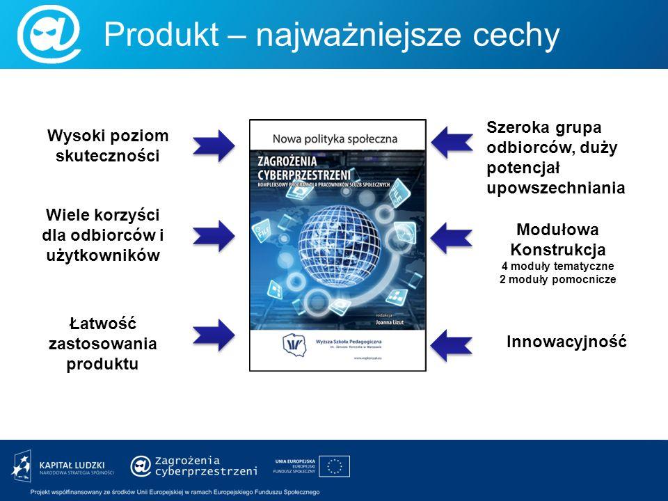 Produkt – najważniejsze cechy Wysoki poziom skuteczności Wiele korzyści dla odbiorców i użytkowników Innowacyjność Szeroka grupa odbiorców, duży poten