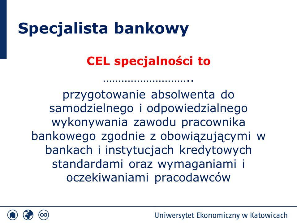 Specjalista bankowy Unikatowość specjalności opiera się na trzech filarach:  uwzględnieniu sugestii kierownictwa banków: PKO Bank Polski, ING Bank Śląski, Getin Bank, Deutsche Bank Polska S.A.