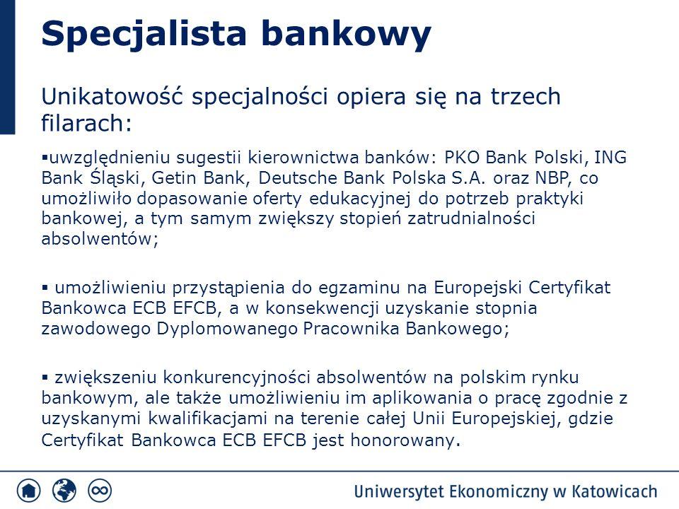 Specjalista bankowy Unikatowość specjalności opiera się na trzech filarach:  uwzględnieniu sugestii kierownictwa banków: PKO Bank Polski, ING Bank Śl