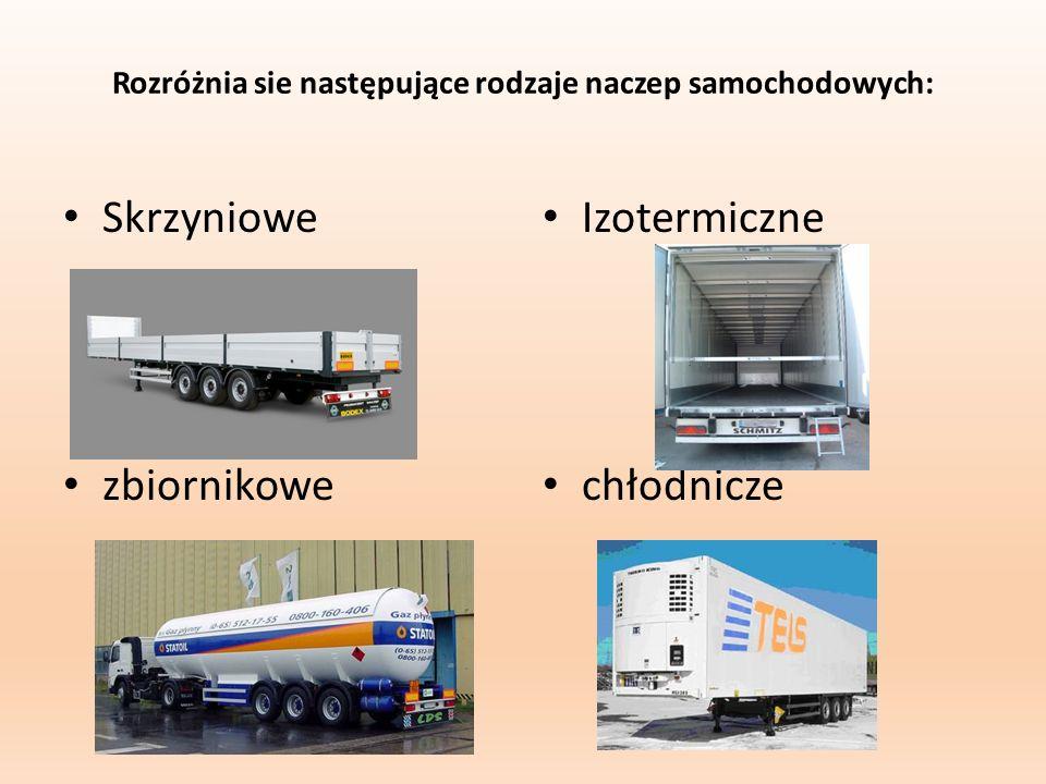 Rozróżnia sie następujące rodzaje naczep samochodowych: Skrzyniowe zbiornikowe Izotermiczne chłodnicze