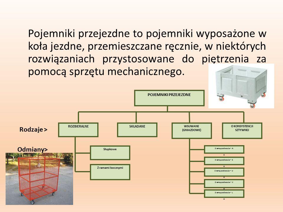 Pojemniki przejezdne to pojemniki wyposażone w koła jezdne, przemieszczane ręcznie, w niektórych rozwiązaniach przystosowane do piętrzenia za pomocą s