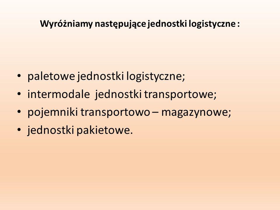 Wyróżniamy następujące jednostki logistyczne : paletowe jednostki logistyczne; intermodale jednostki transportowe; pojemniki transportowo – magazynowe