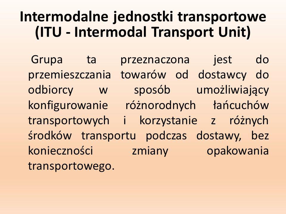 Rodzaje intermodalnych jednostek transportowych: kontenery; nadwozia wymienny; naczepy samochodowe (siodłowe).