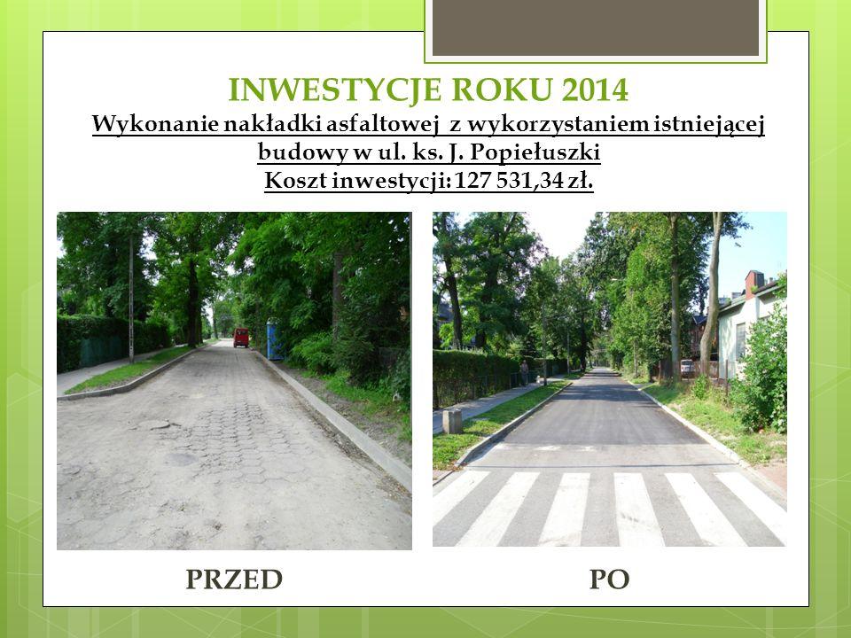 INWESTYCJE ROKU 2014 Wykonanie nakładki asfaltowej z wykorzystaniem istniejącej budowy w ul. ks. J. Popiełuszki Koszt inwestycji: 127 531,34 zł. PRZED