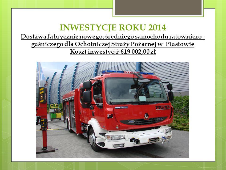 INWESTYCJE ROKU 2014 Dostawa fabrycznie nowego, średniego samochodu ratowniczo - gaśniczego dla Ochotniczej Straży Pożarnej w Piastowie Koszt inwestycji: 619 002,00 zł