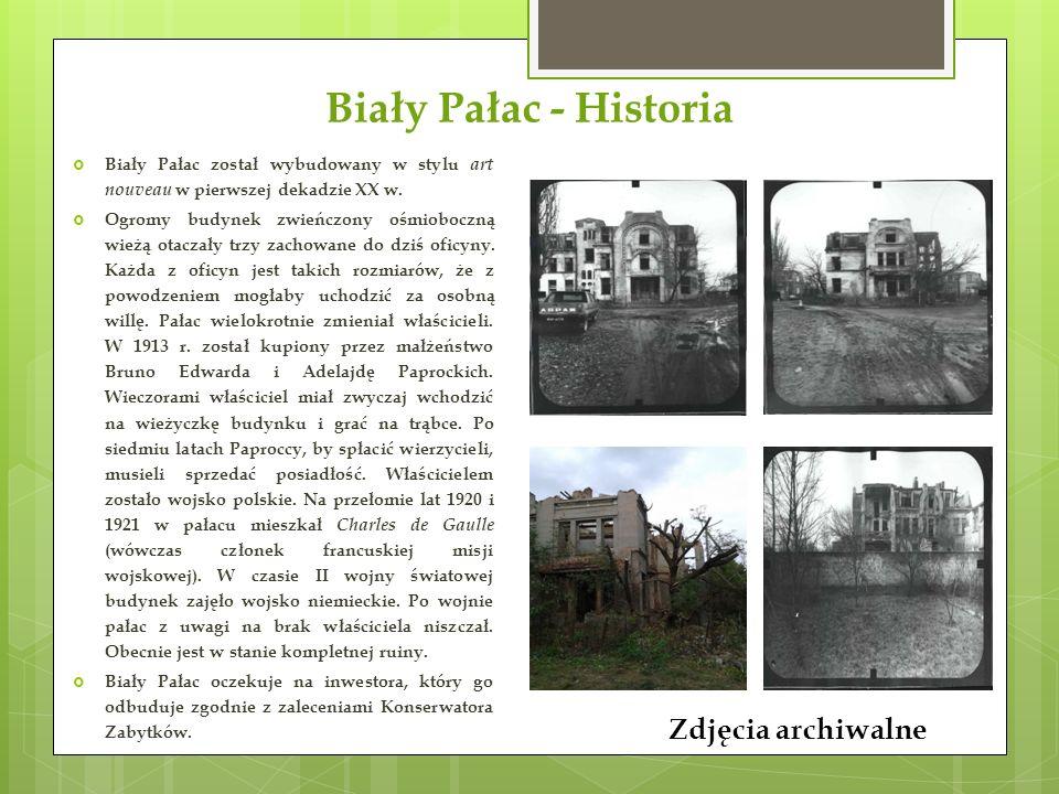 Biały Pałac - Historia Zdjęcia archiwalne  Biały Pałac został wybudowany w stylu art nouveau w pierwszej dekadzie XX w.  Ogromy budynek zwieńczony o