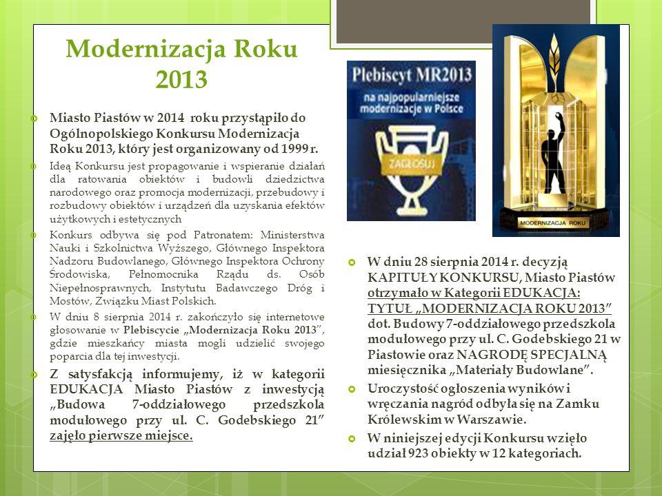 Modernizacja Roku 2013  Miasto Piastów w 2014 roku przystąpiło do Ogólnopolskiego Konkursu Modernizacja Roku 2013, który jest organizowany od 1999 r.