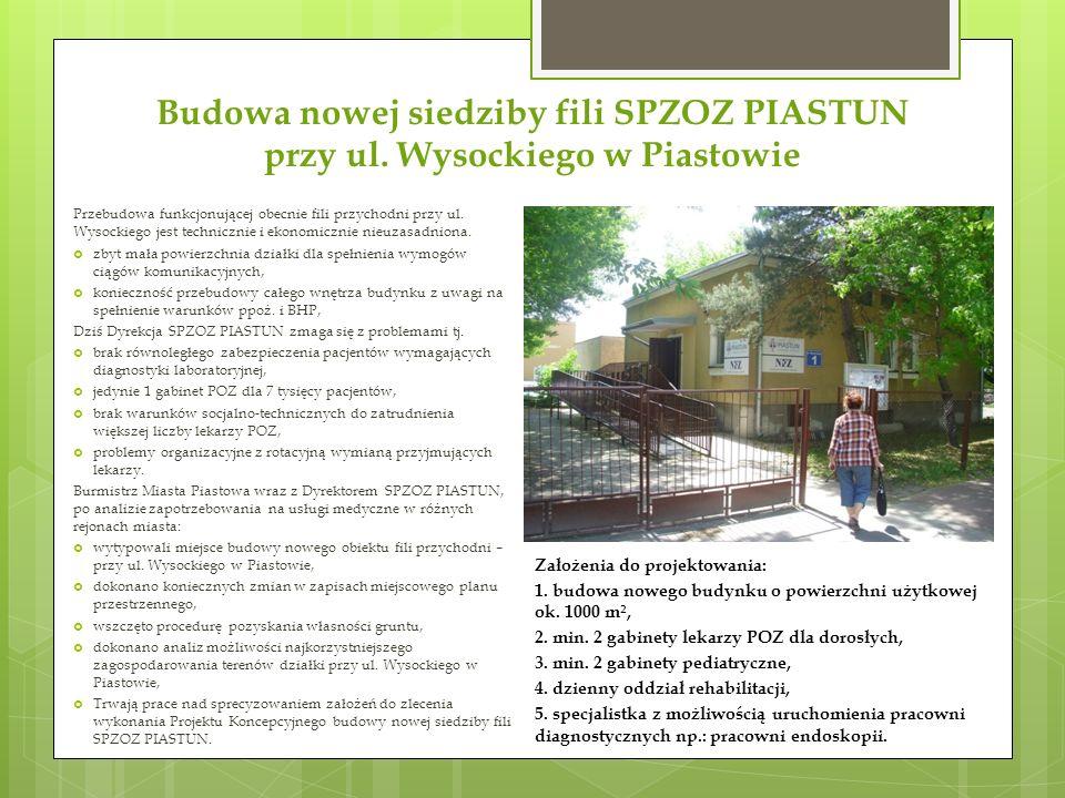 Budowa nowej siedziby fili SPZOZ PIASTUN przy ul. Wysockiego w Piastowie Założenia do projektowania: 1. budowa nowego budynku o powierzchni użytkowej