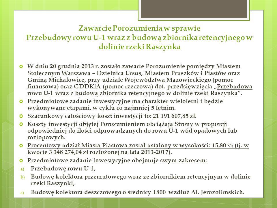 Zawarcie Porozumienia w sprawie Przebudowy rowu U-1 wraz z budową zbiornika retencyjnego w dolinie rzeki Raszynka  W dniu 20 grudnia 2013 r.