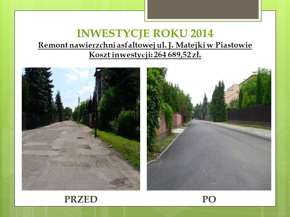 INWESTYCJE ROKU 2014 Remont nawierzchni asfaltowej ul. J. Matejki w Piastowie Koszt inwestycji: 264 689,52 zł. PRZEDPO