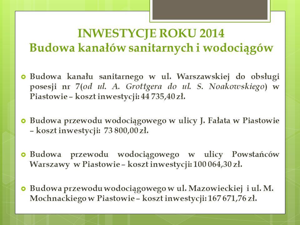 INWESTYCJE ROKU 2014 Budowa kanałów sanitarnych i wodociągów  Budowa kanału sanitarnego w ul.
