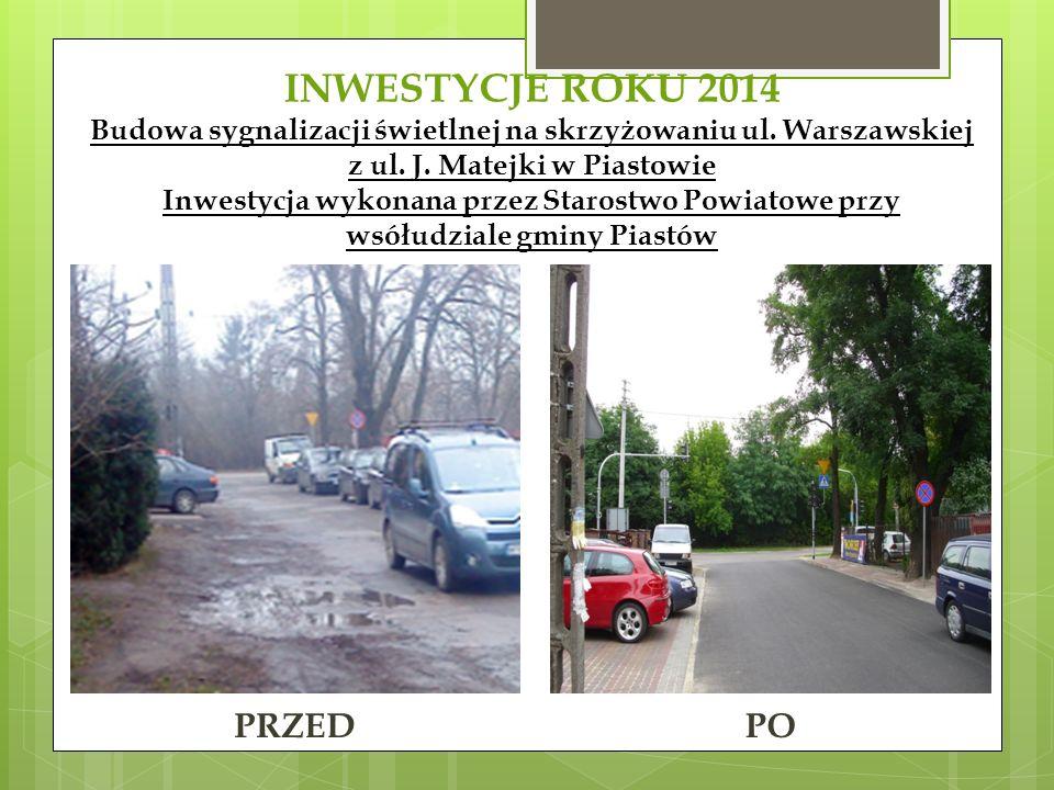 INWESTYCJE ROKU 2014 Budowa sygnalizacji świetlnej na skrzyżowaniu ul.