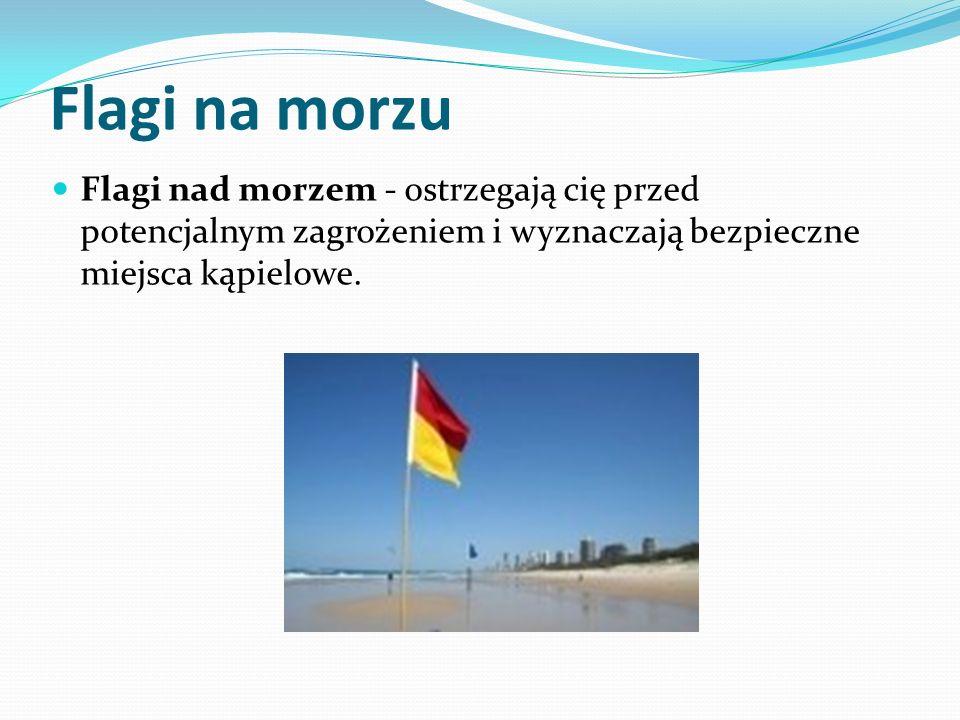 Flagi na morzu Flagi nad morzem - ostrzegają cię przed potencjalnym zagrożeniem i wyznaczają bezpieczne miejsca kąpielowe.
