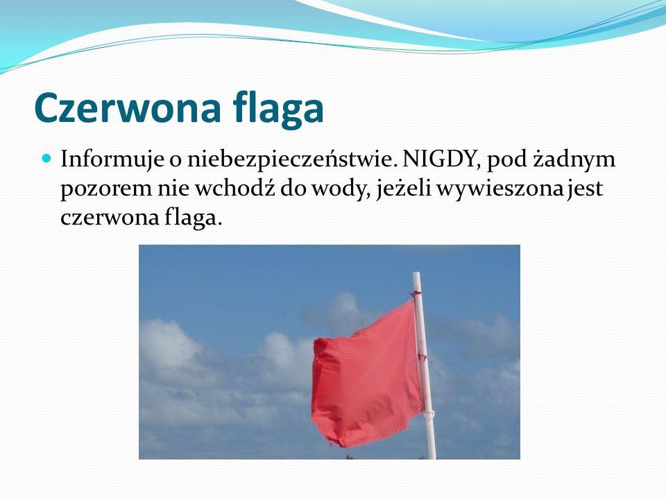 Czerwona flaga Informuje o niebezpieczeństwie.