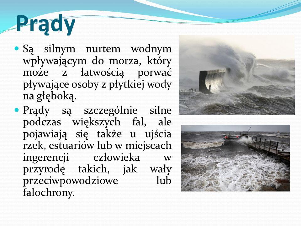 Prądy Są silnym nurtem wodnym wpływającym do morza, który może z łatwością porwać pływające osoby z płytkiej wody na głęboką.
