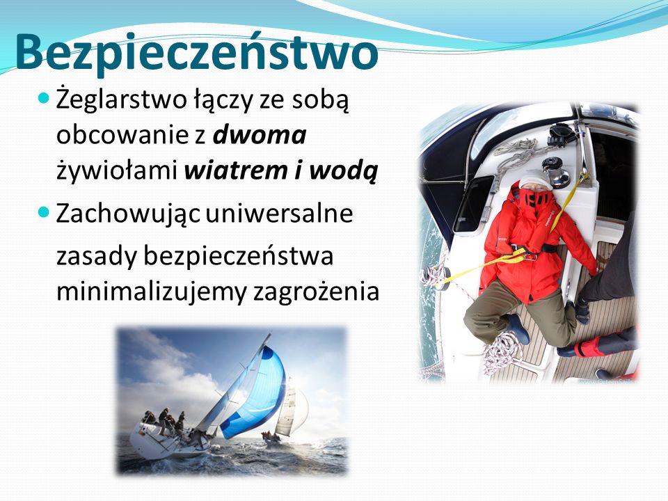 Bezpieczeństwo Żeglarstwo łączy ze sobą obcowanie z dwoma żywiołami wiatrem i wodą Zachowując uniwersalne zasady bezpieczeństwa minimalizujemy zagrożenia