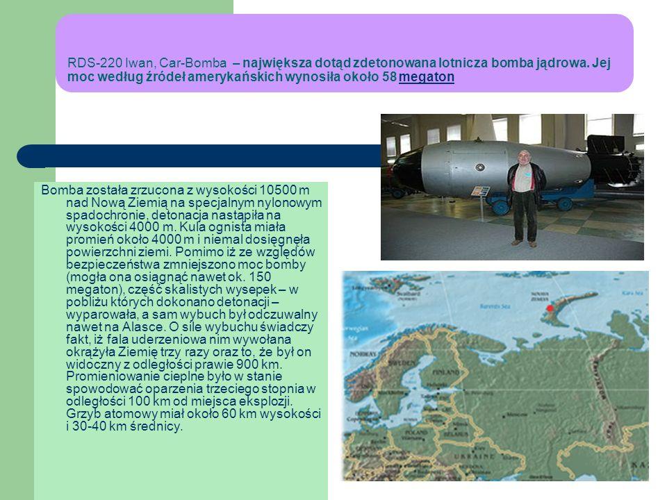 BROŃ NEUTRONOWA Jest to odmiana bomby termojądrowej, charakteryzująca się stosunkowo niską siłą wybuchu i skażenia radioaktywnego, emitująca jednak ol