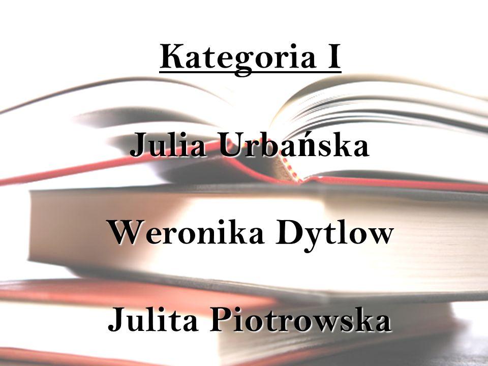 Kategoria I Julia Urbańska Weronika Dytlow Julita Piotrowska