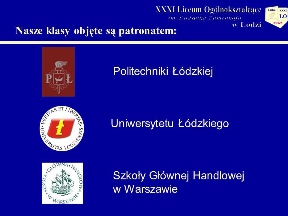Politechniki Łódzkiej Uniwersytetu Łódzkiego Nasze klasy objęte są patronatem: Szkoły Głównej Handlowej w Warszawie