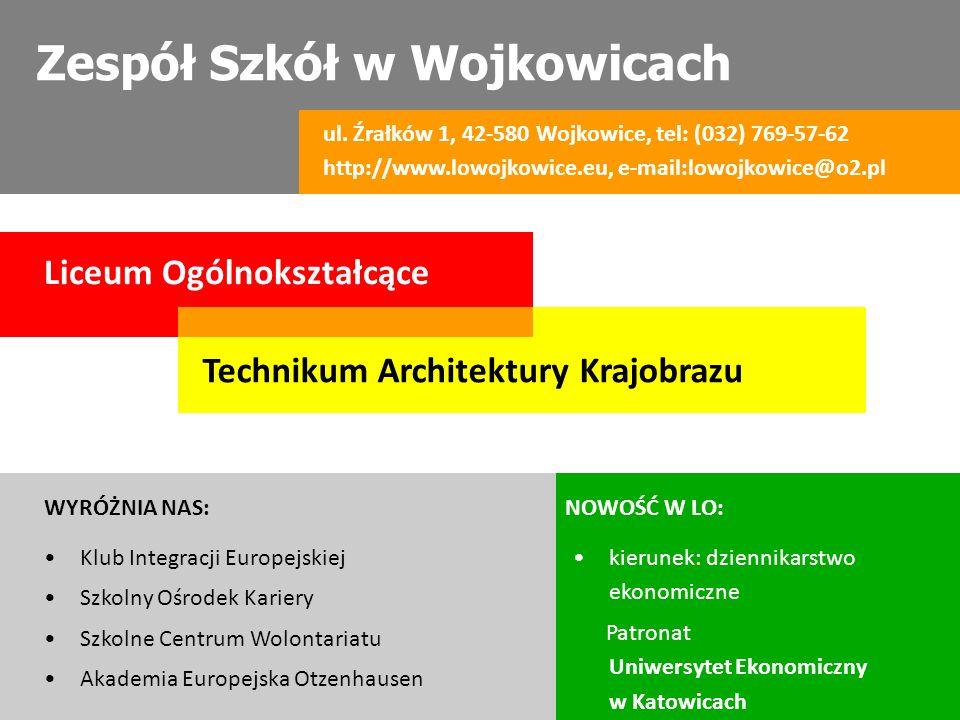Zespół Szkół w Wojkowicach ul. Źrałków 1, 42-580 Wojkowice, tel: (032) 769-57-62 http://www.lowojkowice.eu, e-mail:lowojkowice@o2.pl Liceum Ogólnokszt