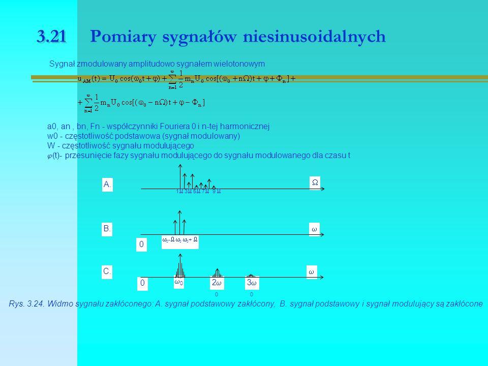 3.21 Pomiary sygnałów niesinusoidalnych Sygnał zmodulowany amplitudowo sygnałem wielotonowym a0, an, bn, Fn - współczynniki Fouriera 0 i n-tej harmonicznej w0 - częstotliwość podstawowa (sygnał modulowany) W - częstotliwość sygnału modulującego  (t)- przesunięcie fazy sygnału modulującego do sygnału modulowanego dla czasu t 3030 2020 00  A.