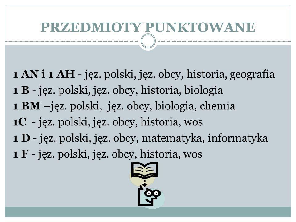 PRZEDMIOTY PUNKTOWANE 1 AN i 1 AH - jęz. polski, jęz.