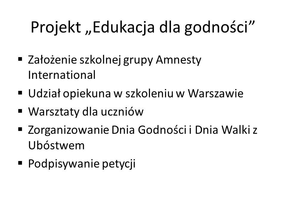 """Projekt """"Edukacja dla godności  Założenie szkolnej grupy Amnesty International  Udział opiekuna w szkoleniu w Warszawie  Warsztaty dla uczniów  Zorganizowanie Dnia Godności i Dnia Walki z Ubóstwem  Podpisywanie petycji"""