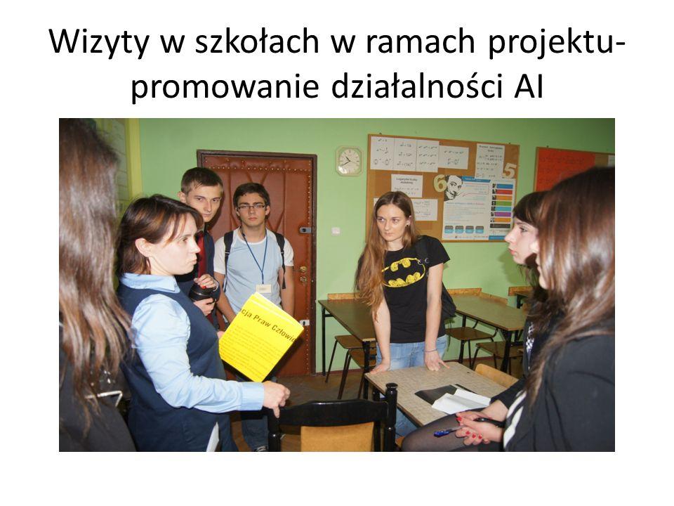 Wizyty w szkołach w ramach projektu- promowanie działalności AI