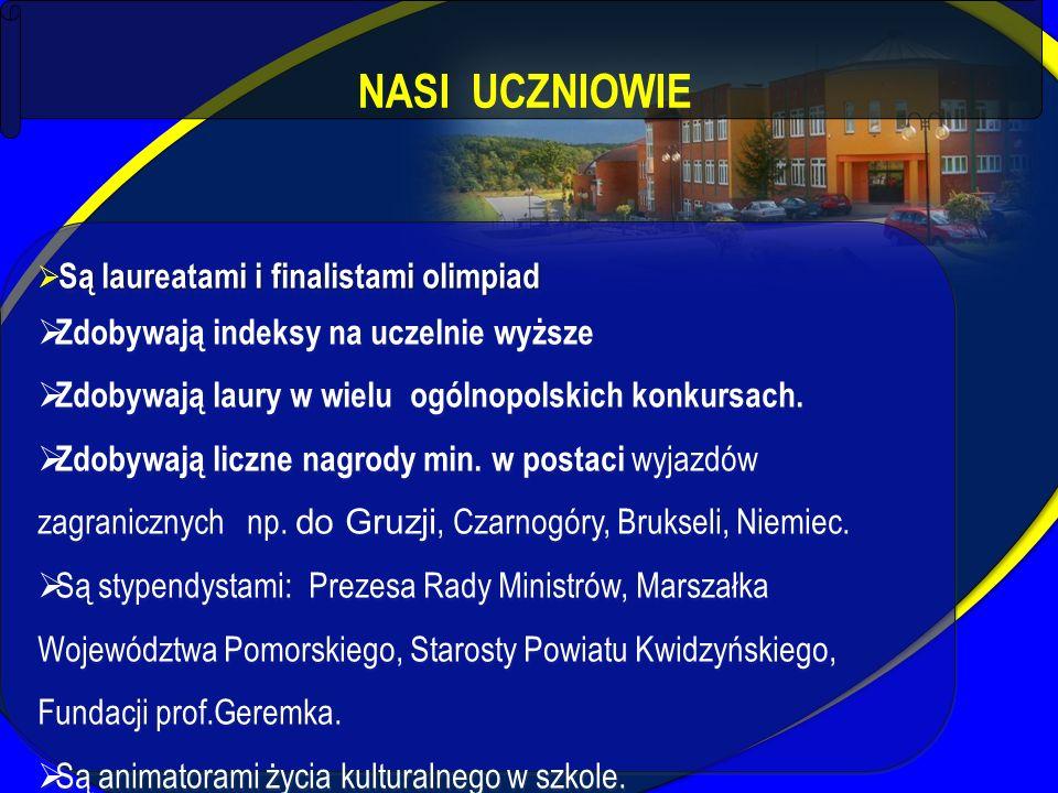 NASI UCZNIOWIE Są laureatami i finalistami olimpiad  Są laureatami i finalistami olimpiad  Zdobywają indeksy na uczelnie wyższe  Zdobywają laury w
